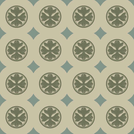 Gothic Cross in the circle seamless pattern. Popular motiff in Medieval european and Byzantine art. Element for designing medieval style textile, prints and illustrations. Retro colors. EPS 10 写真素材 - 115776222
