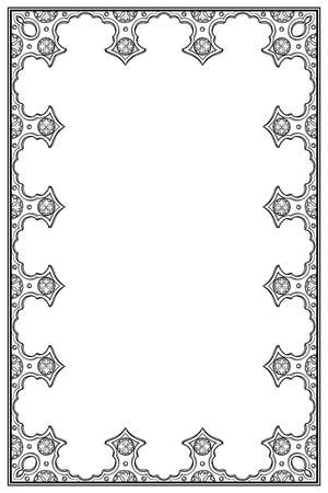 Medieval manuscript style rectangular frame. Vertical orientation. Black drawing isolated on white background. EPS10 vector illustration