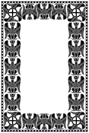 Medieval manuscript style rectangular frame with decorative griffins. Vertical orientation. Black drawing isolated on white background. EPS10 vector illustration