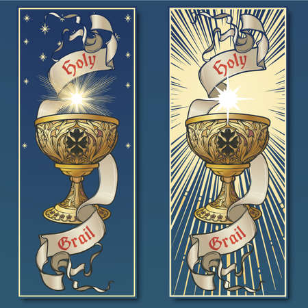 Holy Grail. Symbol of spiritual insight in the romantic literature. Medieval gothic style concept art . Vintage color palette. Set of 2 vertical posters. EPS10 vector illustration