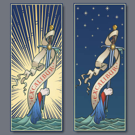 Hand holding a sword emerges from the water. Iconic scene from the Medieval European stories about King Arthur. Vintage color palette. Set of 2 vertical posters. EPS10 vector illustration Imagens - 121506513
