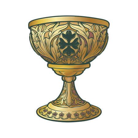 Holy Grail. Symbol of spiritual insight in the romantic literature. Medieval gothic style concept art . Vintage color palette. Isolated on white background. EPS10 vector illustration