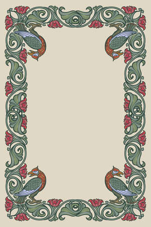Floral rectangular frame with birds. Fairy tale style decorative border. Vertical orientation. Vintage color palette. Hand drawn image isolated on monochrome background. EPS10 vector illustration