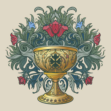 Decorative Goblet. Medieval gothic style concept art. Design element. Hand drawn image isolated on decorative floral background. EPS10 vector illustration Ilustração