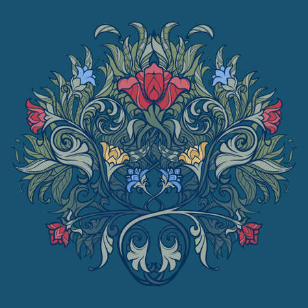 Decorative flower composition. Medieval gothic style concept art. Design element. Hand drawn image isolated on decorative floral background. EPS10 vector illustration