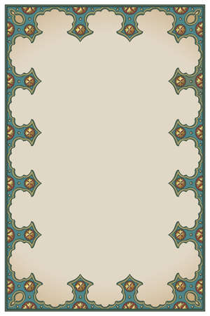 Medieval manuscript style rectangular frame. Vertical orientation. Vintage color palette. Hand drawn image isolated on monochrome background. EPS10 vector illustration