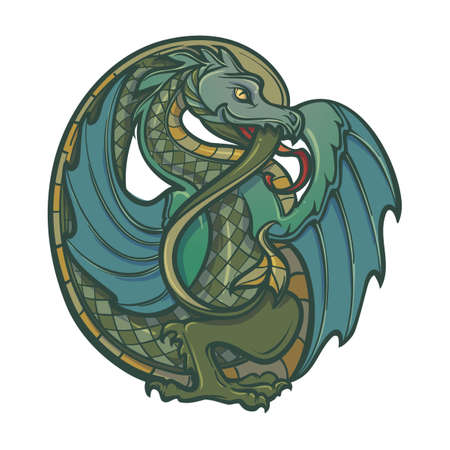 Decorative dragon. Medieval gothic style concept art. Design element. Vintage color palette. Hand drawn image isolated on white background. EPS10 vector illustration Иллюстрация