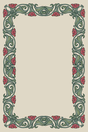 Floral rectangular frame. Fairy tale style decorative border. Vertical orientation. Vintage color palette. Hand drawn image isolated on monochrome background. EPS10 vector illustration Ilustrace