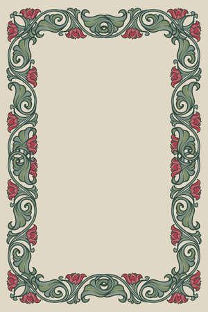 Rechteckiger Blumenrahmen. Dekorative Grenze im Märchenstil. Vertikale Ausrichtung. Vintage-Farbpalette. Handgezeichnetes Bild auf monochromem Hintergrund isoliert. EPS10-Vektorillustration