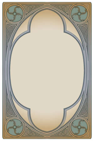 Medieval manuscript style rectangular frame. Gothic style pointed arch. Vertical orientation. Vintage color palette. Hand drawn image isolated on monochrome background. EPS10 vector illustration