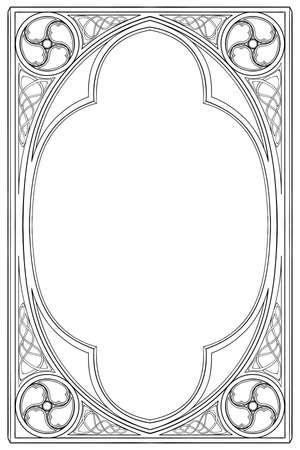 Rechteckiger Rahmen im mittelalterlichen Manuskriptstil. Spitzbogen im gotischen Stil. Vertikale Ausrichtung. Vintage-Farbpalette. Handgezeichnetes Bild auf monochromem Hintergrund isoliert. EPS10-Vektorillustration