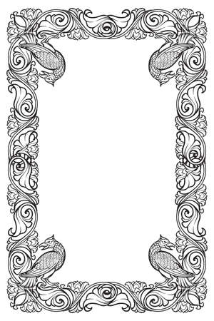 Floral rectangular frame with birds. Fairy tale style decorative border. Vertical orientation. Vintage color palette. Hand drawn image isolated on white background. EPS10 vector illustration