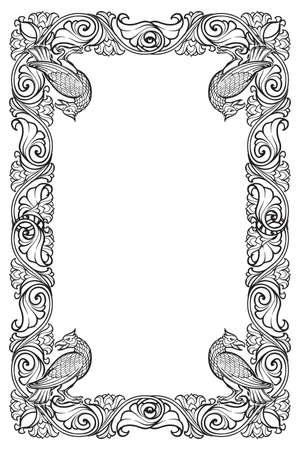 Rechteckiger Blumenrahmen mit Vögeln. Dekorative Grenze im Märchenstil. Vertikale Ausrichtung. Vintage-Farbpalette. Hand gezeichnetes Bild lokalisiert auf weißem Hintergrund. EPS10-Vektorillustration