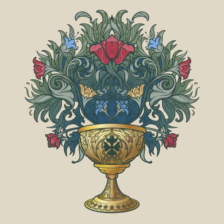 Decorative Goblet. Medieval gothic style concept art. Design element. Hand drawn image isolated on decorative floral background. EPS10 vector illustration