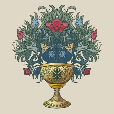 Decorative Goblet. Medieval gothic style concept art. Design element. Hand drawn image isolated on decorative floral background. EPS10 vector illustration Illustration