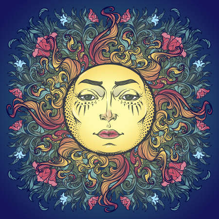 Decorative composition with stylized human faced sun, red poppies and bluebells. Medieval gothic style hand drawing isolated on a dark blue background. EPS10 vector illustration