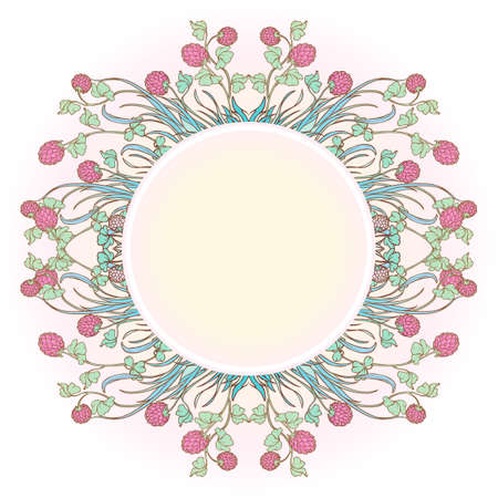Decorative composition with red clover in bloom. Blank plate for text in the middle. St. Patricks day festive design. EPS 10 vector illustration