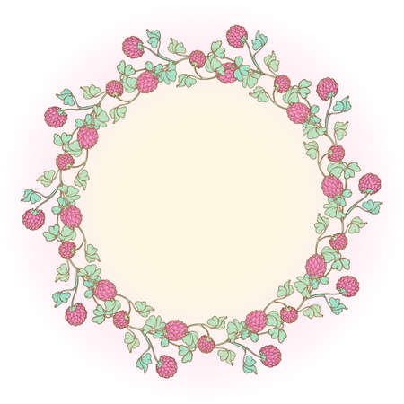 Decorative composition with red clover in bloom. St. Patricks day festive design. EPS 10 vector illustration Ilustração
