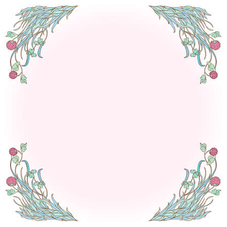 Decorative square frame with pink clover in bloom. St. Patrick's day festive design. EPS 10 vector illustration