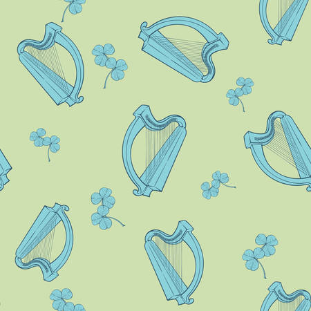 Irish shamrock and harp. St. Patricks day festive seamless pattern. EPS 10 vector illustration