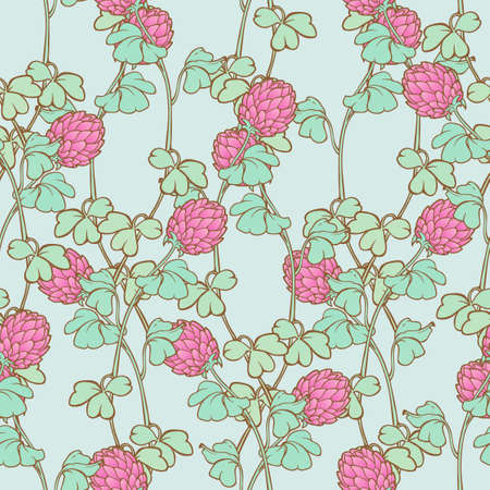 Flowers of trifolium repens or pink clover. St. Patricks day festive seamless pattern. EPS 10 vector illustration