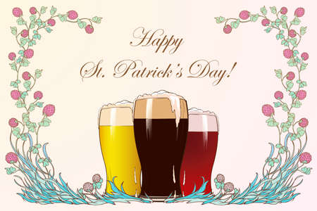 St Patricks day festive greeting card. Pink clover garland and three glasses with different sorts of beer. EPS 10 vector illustration Ilustração