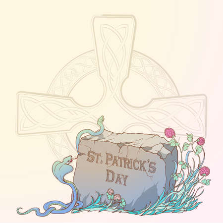 Pink clover in bloom, snakes and traditional celtic cross. St. Patricks day festive design. Greeting card. Vertical orientation. EPS 10 vector illustration