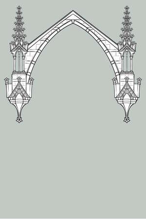 Cornice rettangolare in stile manoscritto medievale. Arco a sesto acuto in stile gotico formato da archi rampanti. Orientamento verticale. Illustrazione vettoriale EPS10 Vettoriali
