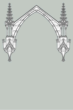 Medieval manuscript style rectangular frame. Gothic style pointed arch formed with flying buttresses. Vertical orientation. EPS10 vector illustration Foto de archivo - 116264934