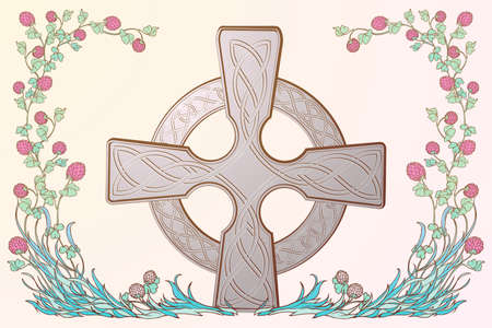 Pink clover in bloom and traditional celticcross. St. Patricks day festive design. EPS 10 vector illustration