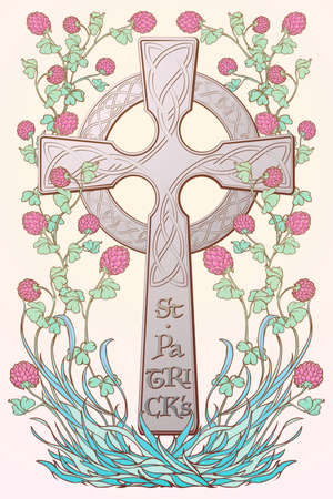 Pink clover in bloom and traditional celtic cross. St. Patricks day festive design. Greeting card. Vertical orientation. EPS 10 vector illustration