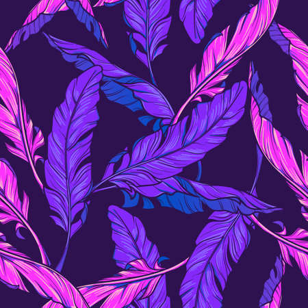 Banana plant leavs on a dark purple background. Tropical jungle. Seamless pattern with Irregular distribution of elements. Trendy 2019 colors. EPS10 vector illustration. Ilustração