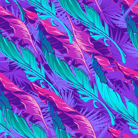 Banana plant leavs on a dark purple background. Tropical jungle. Seamless pattern with Irregular distribution of elements. Trendy 2019 colors. Diagonal rythm. EPS10 vector illustration.