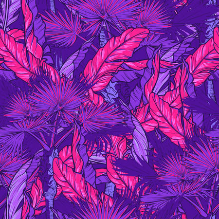 Banana and fan palm trees on a dark purple background. Tropical jungle. Seamless pattern with Irregular distribution of elements. Trendy colors 2019. EPS10 vector illustration.