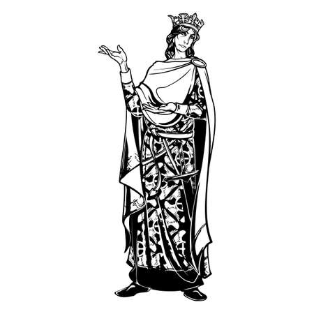 Medieval king with a characteristic gothic slouching posture. Medieval gothic style concept art. Design element. Black a nd white drawing isolated on grey background. EPS10 vector illustration Illustration