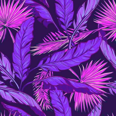 Bananen- und Fächerpalmenblätter auf einem dunkelvioletten Hintergrund. Tropischer Dschungel. Nahtloses Muster mit unregelmäßiger Verteilung von Elementen. Trendige 2019-Farben. EPS10-Vektor-Illustration.