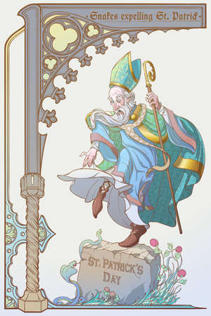 Serpenti che espellono San Patrizio dall'Irlanda. Illustrazione ironica per il giorno di San Patrizio. Design di poster o biglietti di auguri. Colori alla moda. Illustrazione vettoriale di PEPS10. Vettoriali