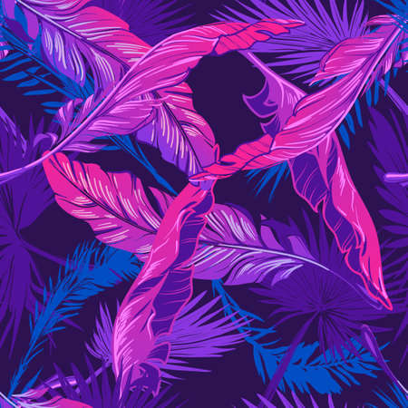 Banana and fan palm tree leavs on a dark purple background. Tropical jungle. Seamless pattern with Irregular distribution of elements. Trendy 2019 colors. EPS10 vector illustration. Ilustração