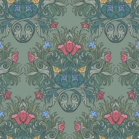 Decorative flower composition with stylized red poppies and bluebells. Medieval gothic style seamless pattern. EPS10 vector illustration