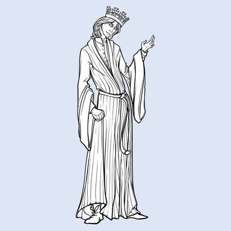 Medieval king with a characteristic gothic slouching posture. Medieval gothic style concept art. Design element. Black a nd white drawing isolated on grey background. EPS10 vector illustration