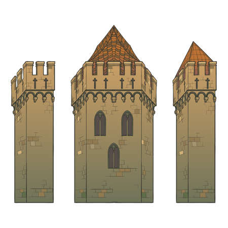 Typical Medieval Castle. Element for the medieval style illustrations. EPS10 vector illustration