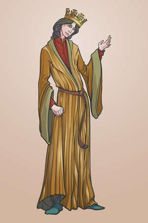Rey medieval con una característica postura gótica encorvada. Arte conceptual de estilo gótico medieval. Elemento de diseño. Dibujo negro y blanco aislado sobre fondo gris. Ilustración vectorial EPS10 Ilustración de vector