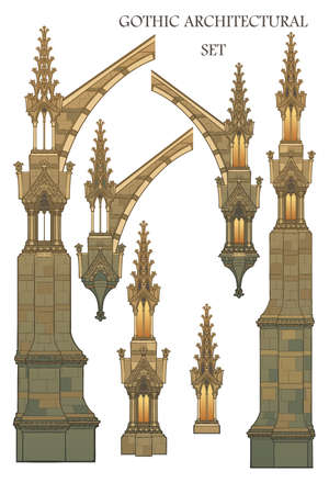 Set of the medieval gothic architectural elements. Flying buttresses, ornate towers. EPS10 vector illustration