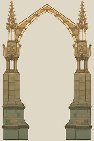Medieval manuscript style rectangular frame. Gothic style pointed arch formed with flying buttresses. Vertical orientation. EPS10 vector illustration