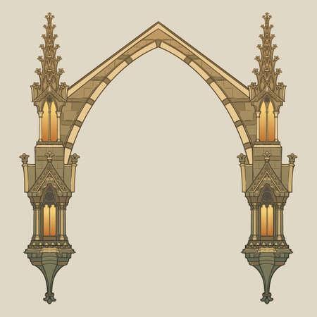 Rechteckiger Rahmen im mittelalterlichen Manuskriptstil. Spitzbogen im gotischen Stil mit Strebepfeilern. Vertikale Ausrichtung. EPS10-Vektorillustration Vektorgrafik