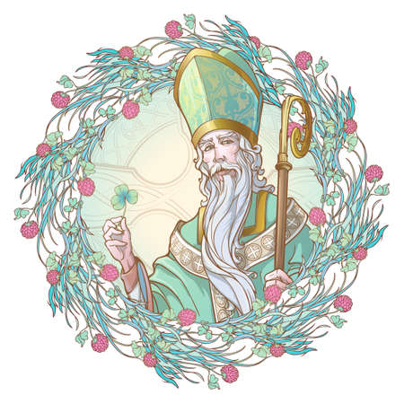 St. Patrick holding a clover leaf. Ornate floral frame in a shape of pink clover flowers wreath. illustration for the St. Patric's day. Poster or greeting card design. EPS10 vector illustration.