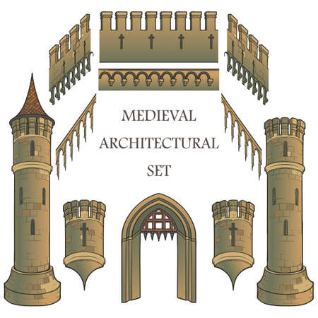 Set of the Medieval Castle architectural elements. Defencive structures. Towers, battlements, gates. Designers kit. EPS10 vector illustration