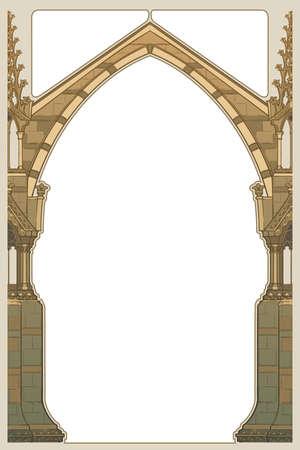 Rechteckiger Rahmen im mittelalterlichen Manuskriptstil. Spitzbogen im gotischen Stil mit Strebepfeilern. Vertikale Ausrichtung. EPS10-Vektorillustration