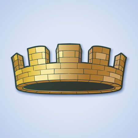 City or municipal body crown. Element for design logo, coat of arms, emblem and tattoo. Vector illustration isolated on white background. EPS10 vector illustration