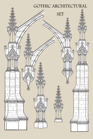Satz der mittelalterlichen gotischen Architekturelemente. Strebepfeiler, verzierte Türme. EPS10-Vektorillustration